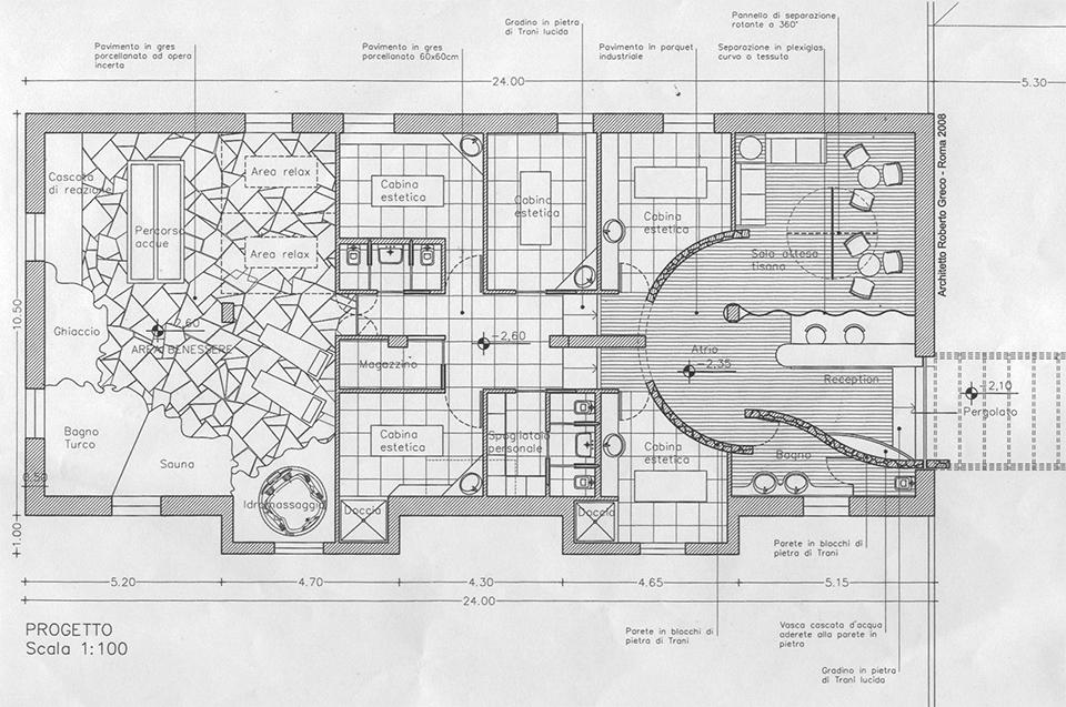 Roberto greco architetto progetto centro benessere for Piccoli progetti di ranch